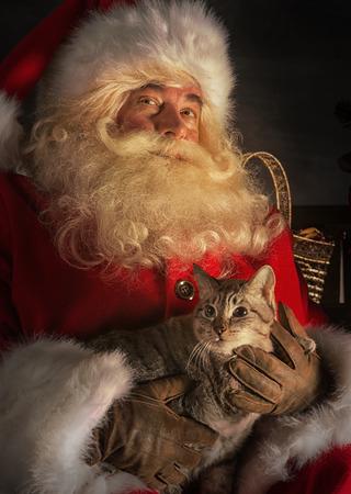 Santa Claus sitting near Christmas tree and embracing his cat. Santa at home photo