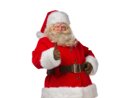 look up: Portrait of happy Santa Claus isolated on white background thumbs up