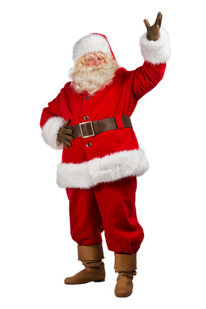 claus: Full Body Shot of Santa Claus with his hands open isolated on white background Stock Photo