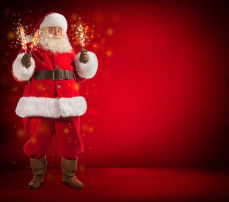 Santa Claus making magic. Collage. Full length portrait