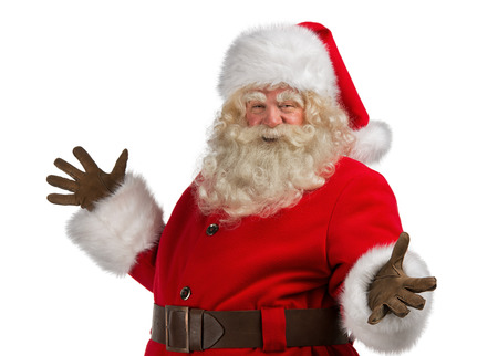 Happy Christmas Santa Claus with a welcome gesture. Isolated on white background. photo