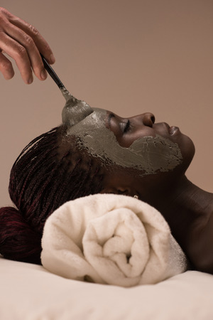 Beautiful african woman having clay facial mask applying by beautician