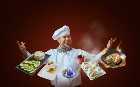 Chef presenting new menu 写真素材