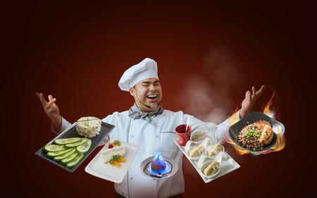 Chef presenting new menu Standard-Bild