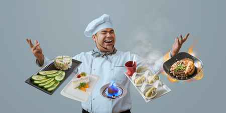 Chef juggling with meals