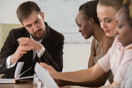 multi racial group: Business meeting at office multi racial group of business people working together
