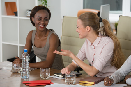 women only: Mixed group in business meeting women only Stock Photo