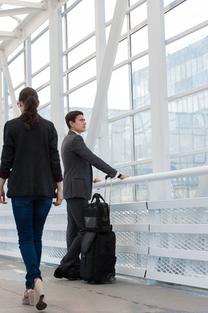 urban environment: Business people in urban environment of airport Stock Photo
