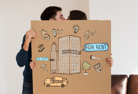 real estate planning: Renting and credit concept. Young couple planning their future