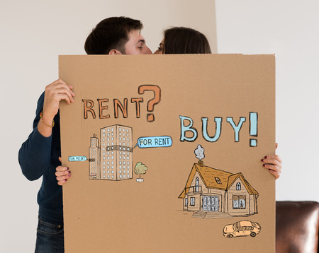 realty: Buy or rent realty. Couple thinking and choosing, Mortgage concept