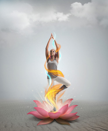 Silhouette young african woman practicing yoga in lotus flower photo