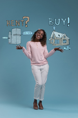 hesitating: Buy or rent realty. Woman thinking and choosing, Mortgage concept
