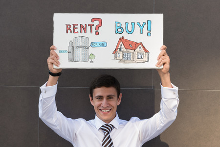 hesitating: Buy or rent realty. Businessman thinking and choosing, Mortgage concept