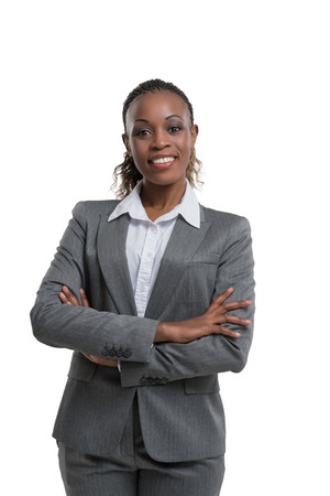 modern business: African business woman portrait. Crossed arms. Isolated