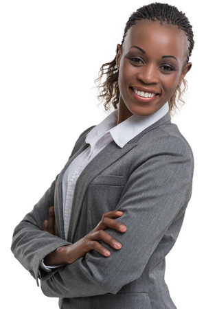 Afrikanische Geschäftsfrau Porträt. Verschränkte Arme. Isoliert Standard-Bild - 40943216