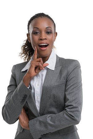 Smart african business woman thinking and presenting something Stock Photo