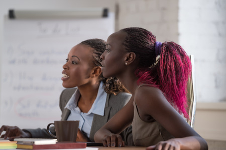 femme africaine: Femme d'affaires africaine expliquer quelque chose à son jeune collègue