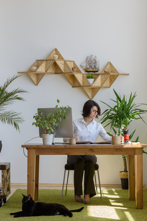 working woman: Woman working at modern office