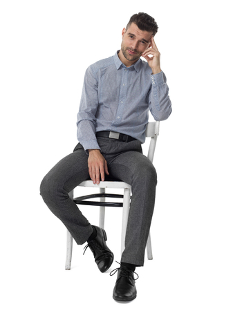 executive chair: Businessman listening attentively portrait isolated on white background