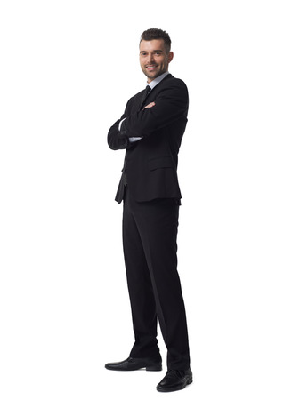 folded hands: Businessman with folded hands full length portrait isolated on white background