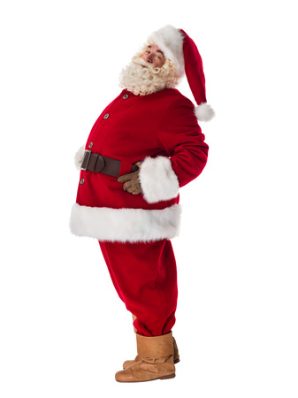 Santa Claus Portrait. Standing still and posing. Side view Stock Photo