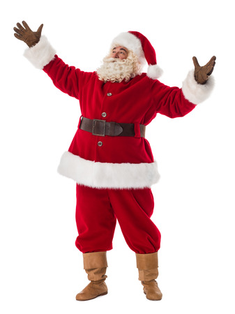 manos abiertas: Retrato de Pap� Noel. De pie con las manos abiertas Foto de archivo