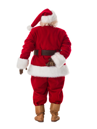 Santa Claus Portrait. Crossed fingers. Photo from behind