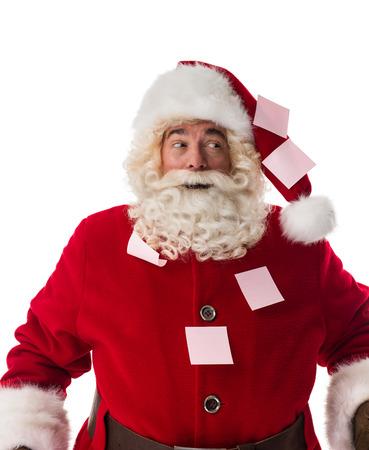 plastered: Santa Claus plastered Portrait Isolated on White Background