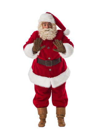 soothing: Santa Claus soothing gesture Portrait Isolated on White Background