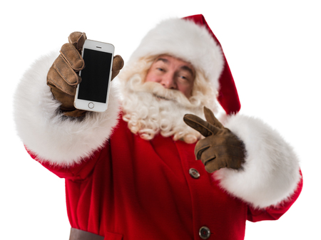 Santa Claus calling phone Portrait Isolated on White Background