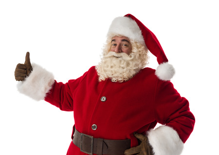 thumbs up: Santa Claus thumbs up Portrait Isolated on White Background Stock Photo