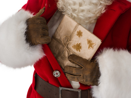 bosom: Santa Claus Portrait Getting out concealed gift box from bosom Isolated on White Background