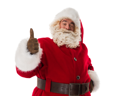 man thumbs up: Santa Claus Portrait thumbs up Isolated on White Background Stock Photo