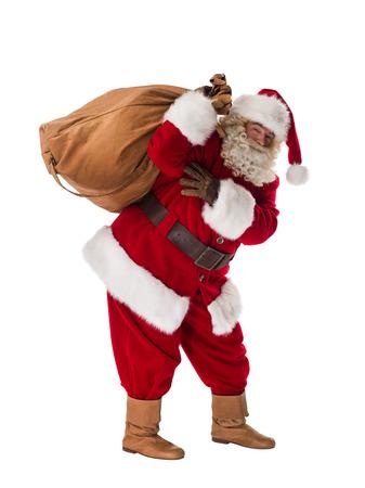 Portret van de Kerstman met zak geïsoleerd op witte achtergrond Stockfoto