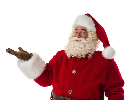 Santa Claus presenting new product Portrait Isolated on White Background