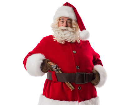 holding gun: Santa Claus with vintage gun. Portrait Isolated on White Background