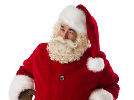 Santa Claus winking. Portrait Isolated on White Background