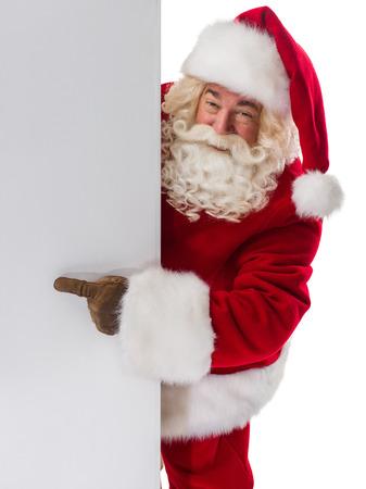 Kerstman die copyspace leeg bord. Portret geïsoleerd op witte achtergrond Stockfoto - 46445336