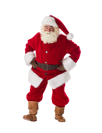 curiously: Santa Claus dancing curiously Full-Length Portrait Stock Photo