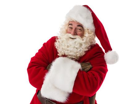 mani incrociate: Babbo Natale sorridente con le mani incrociate ritratto del primo piano