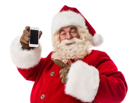 Santa Claus using smartphone - calling phone or texting a message Closeup Portrait Stock Photo