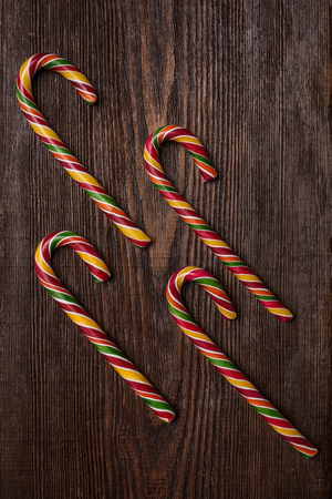 peppermint candy: Christmas Candy Cane on wooden background