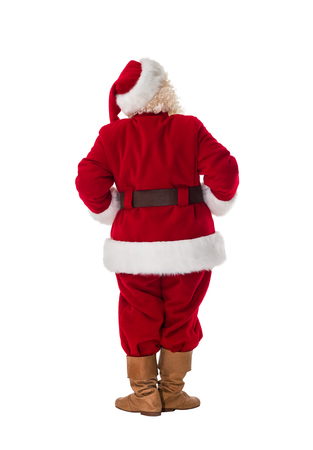 to santa: Santa Claus Full-Length Portrait from behind Stock Photo
