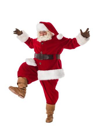 weihnachtsmann lustig: Weihnachtsmann tanzen neugierig Porträt in voller Länge