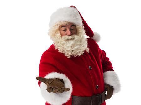 santa claus: Santa Claus presenting new product Closeup Portrait Stock Photo