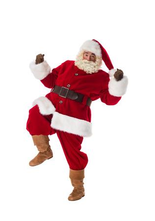 full length portrait: Santa Claus dancing Full Length Portrait. Isolated on White Background