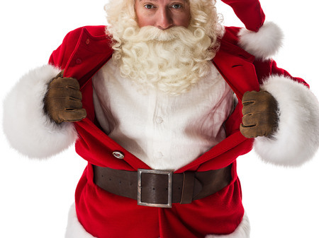 heroes: Santa Claus in a classic   pose tearing his shirt open as a copy space Closeup Portrait. Isolated on White Background Stock Photo