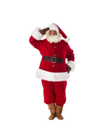weihnachtsmann lustig: Weihnachtsmann Militär Respekt und bereit, Ganzkörperansicht Portrait zu dienen. Isoliert auf weißem Hintergrund
