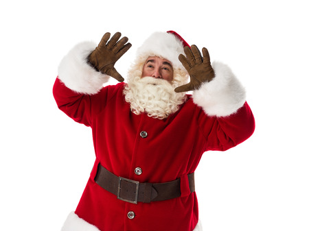 conjuring: Santa Claus conjuring Closeup Portrait. Isolated on White Background Stock Photo