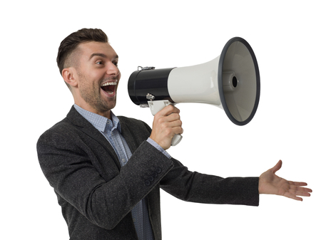 businessman using a megaphone: Businessman using megaphone Closeup Portrait isolated on White Background